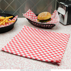"TrueCraftware Red Checkered Deli Basket Liners / Greaseproof Paper - 12 x 12"" (240 Sheets)"