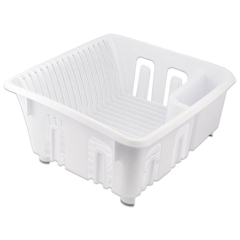True Craftware Dish Drainer / Dish Rack - Organizer - White with Rubber Feet