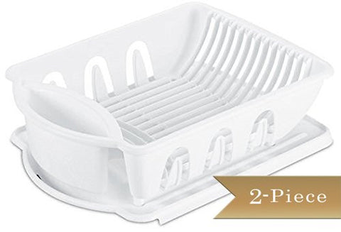 2 Piece - True Craftware Medium Dish Rack Drainer Set - White
