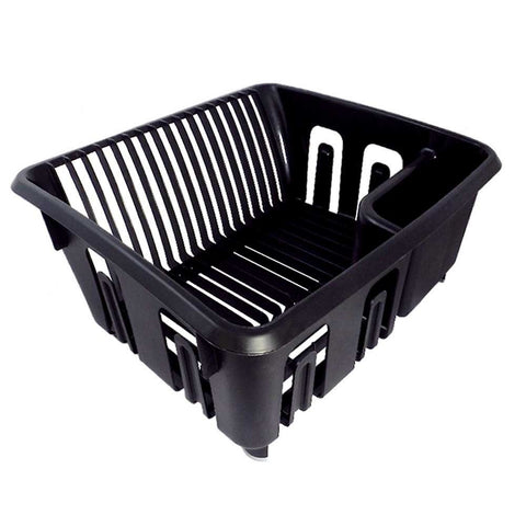 True Craftware Dish Drainer / Dish Rack - Organizer - Black with Rubber Feet, 15
