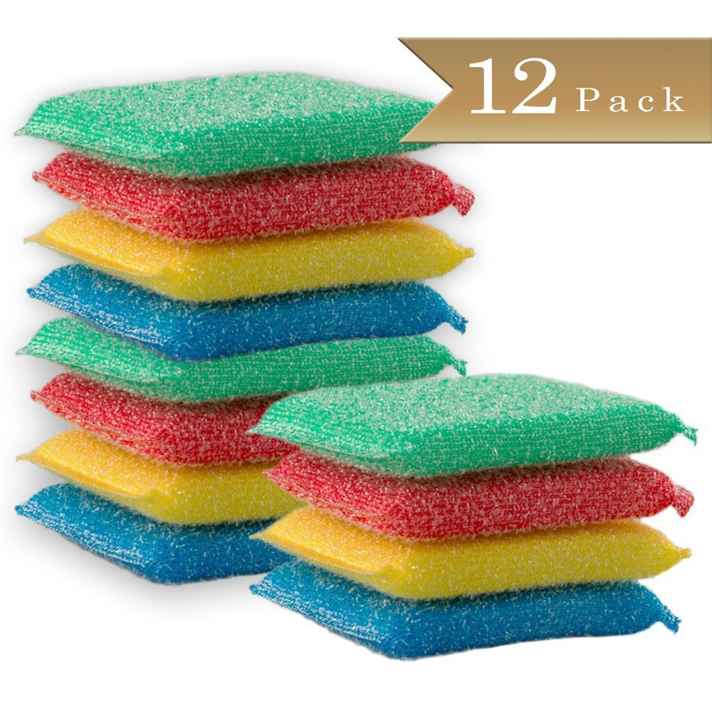 True Craftware Kitchen Dishwashing / Cleaning Scouring Pads / Sponges - Assorted Color - (Set of 12)