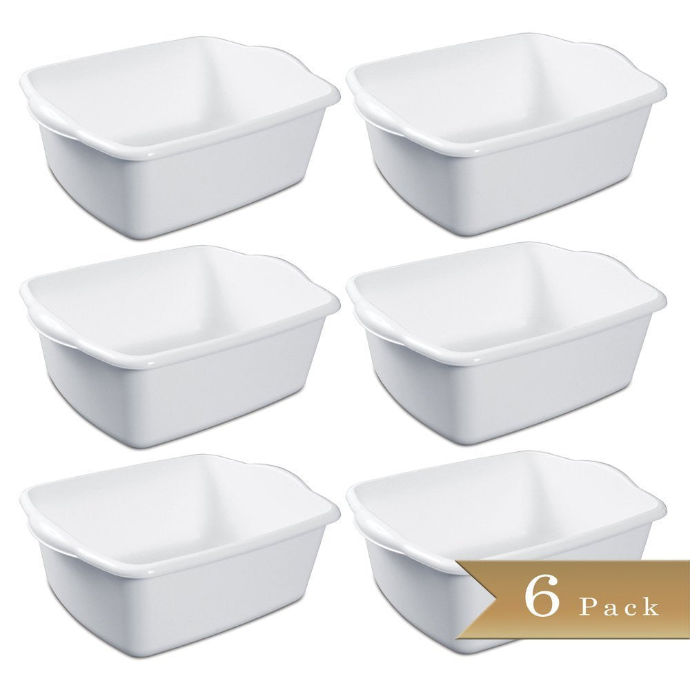 True Craftware White Dishpan Container - 12 Quarts (Pack of 6)