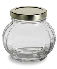 Set of 24 - True Craftware 8 oz Faceted Round Glass Jars with Gold Lid - Wedding Favors - Canning - Spice Jars - 225ml