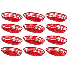 "True Craftware Red Fast Food Baskets - 9 1/4"" X 5 3/4"" - (Pack of 12)"