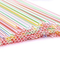 "True Craftware Pack of 450 Flexible Disposable Drinking Straws - 8"" - Striped Assorted Color"