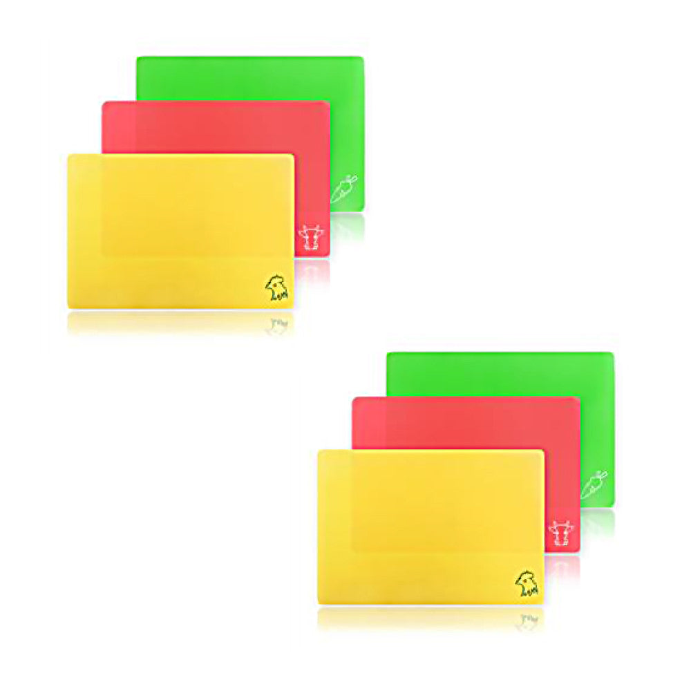 "Pack of 2 - True Craftware Flexible Cutting Boards 3-Piece Sets in Assorted Colors - 14"" x 9.5"" Inches (Total 6 Mats)"