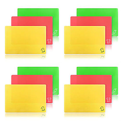 Pack of 4 - True Craftware Flexible Cutting Boards 3-Piece Sets in Assorted Colors - 14