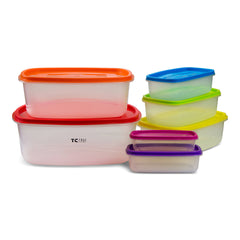 14 Piece - True Craftware Plastic Food Storage Containers - Multi Colored Lids