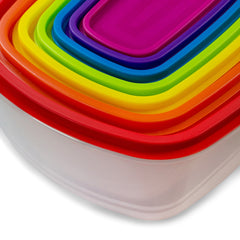 7 Piece - True Craftware Plastic Food Storage Containers - Multi Colored Lids
