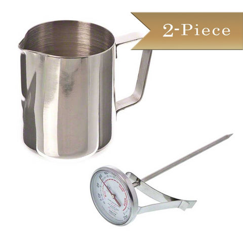 True Craftware 1 Stainless Steel 12 oz Frothing Pitcher & 1 Frothing 1 3/4