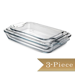 "3 Piece - True Craftware Clear Glass Bakeware Oven Basic Dishes - Rectangular 5 QT, Loaf Dish 1.5 QT and 8"" Square Baking Dish"