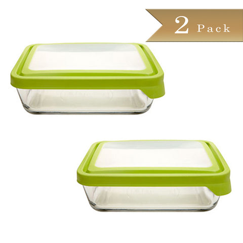 Set of 2 - True Craftware Stain Resistant Rectangular Glass Food Storage Containers with Plastic BPA Free Green Airtight Lids - 11 Cup Glass Baking Dish - Dishwasher Safe Bakeware