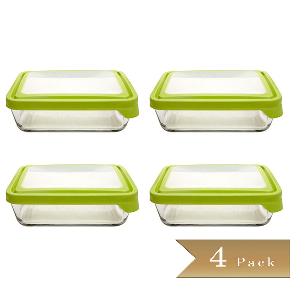 Set of 4 - True Craftware Stain Resistant Rectangular Glass Food Storage Containers with Plastic BPA Free Green Airtight Lids - 11 Cup Glass Baking Dish - Dishwasher Safe Bakeware