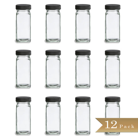 Set of 12 - True Craftware 4 oz French Square Glass Spice Shaker Jars with Black Lids and Shaker Inserts