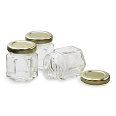 24 - True Craftware Mini 1.5 oz Hexagon Glass Jars with Gold Covers - Pack of 24 - Jars for Jam, Honey, Favors, Baby Food
