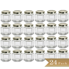 24 - True Craftware 4 oz Hexagon Glass Jars with Gold Covers - Pack of 24 - Jars for Jams, Honey, Sauces, Spices 120ml