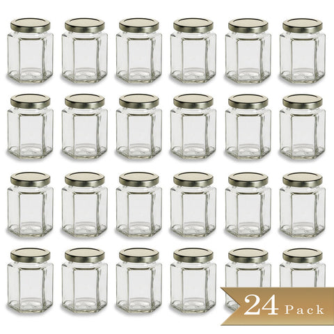 24 - True Craftware Large 6 oz Hexagon Glass Jars with Gold Covers - Pack of 24 - Jars for Jams, Honey, Sauces, Spices