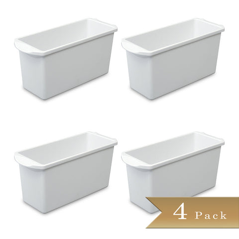 Set of 4 - True Craftware White Plastic Ice Cube Bins 13.5