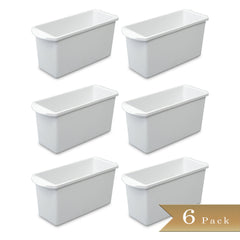 "Set of 6 - True Craftware White Plastic Ice Cube Bins 13.5"" x 5"" x 12.5"""