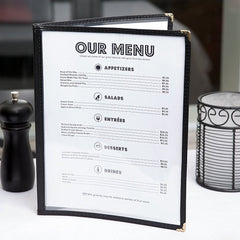 "Set of 25 - True Craftware Restaurant Menu Covers - 8 1/2"" x 11"" - Double Fold Menu Cover - Double Stitched with Black Binding"