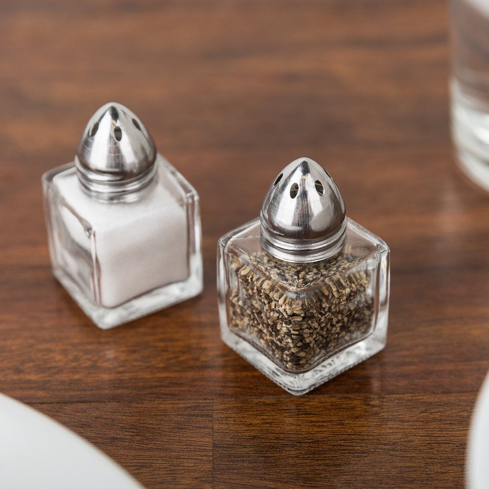 true craftware  set of    oz mini salt shakers  mini  - true craftware  set of    oz mini salt shakers  mini square cubeglass salt and pepper shakers with polished chrome top   ounceindividual