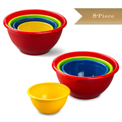 Set of 2 - True Craftware 4 Piece Nesting Plastic Mixing Bowl Sets - Red, Blue, Green and Yellow Bowls