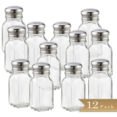 True Craftware 2 Ounce Glass Salt and Pepper Shakers with Stainless Steel Mushroom Tops (Set 12)