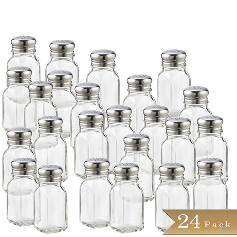 TrueCraftware 2 Ounce - Classic Square Clear Glass Salt or Pepper Shakers with Stainless Steel Mushroom Tops (Set of 24)