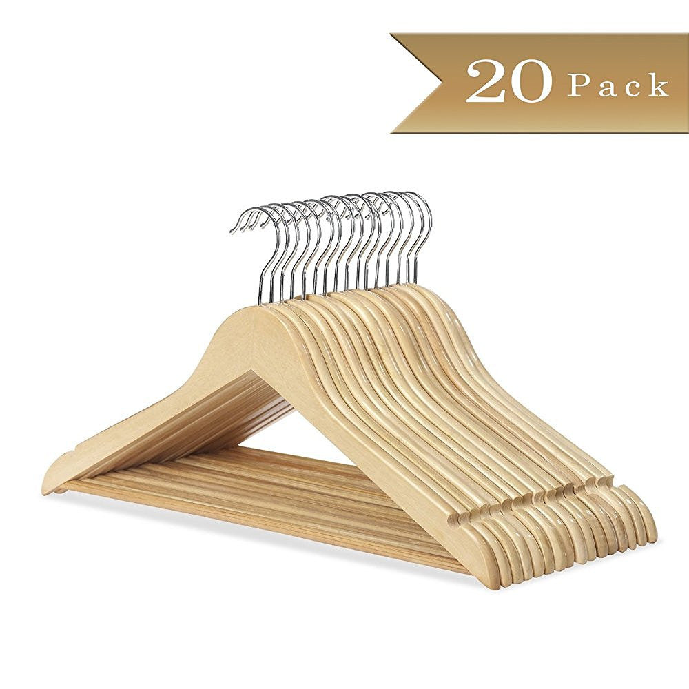 TrueCraftware - Pack of 20 - Natural Finish Wooden Hangers for Shirt, Pants, Coat, Suit - Non Slip Design with U-Shape Notches and Hanging Bar (20 Pack)