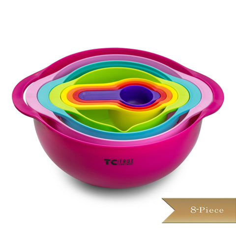 8 Piece True Craftware Mixing Bowl Set - Non Slip - Includes Bowl, Colander, Sifter, Bowl with Spout and 4 Measuring Cups