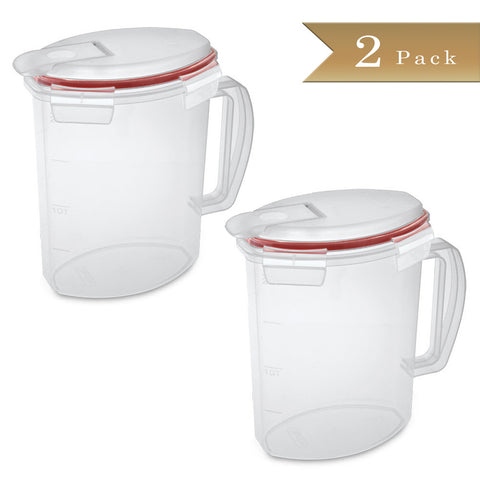 True Craftware Clear Plastic Beverage Pitcher with Ultra Seal - 2.2 Quart Pitcher (Set 2)