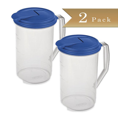 True Craftware 2 Quart Round Pitcher - Clear with Blue Lid (Set of 2)