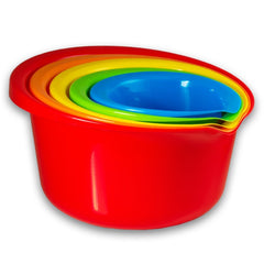 True Craftware Rainbow Color Nesting Kitchen Mixing Bowls Set with Wide Rim and Pouring Spouts (5 - Piece Set)