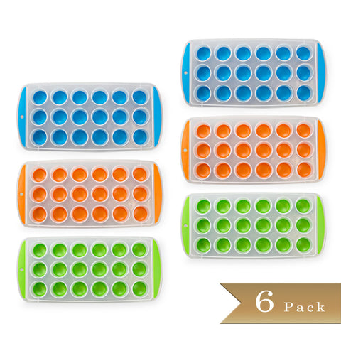Set of 6 - True Craftware Easy Push Out Ice Cube Molds / Pop Out Ice Cube Trays - Assorted Colors - 9.5