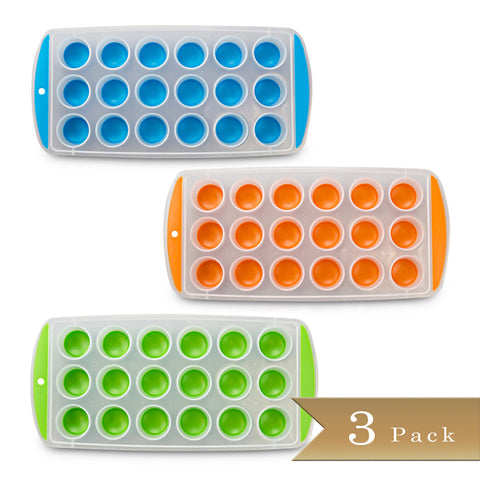 True Craftware Set of 3 - Easy Push Out Ice Cube Molds / Pop Out Ice Cube Trays - Assorted Colors - 9.5