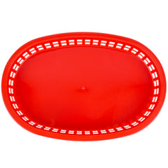 "Pack of 24 - True Craftware Red Plastic Oval Fast Food Baskets - 10 1/2"" X 7"" (270 x 175mm)"