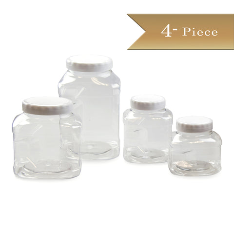 4 Piece - True Craftware Stackable Food Storage Containers with Air Tight Caps - 32oz, 48oz, 80oz and 128oz