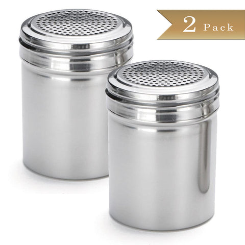 TrueCraftware - Stainless Steel Dredge Shakers - 10 Ounce - Spice Shaker - 10 oz Spice Dispenser for Cooking - Powder Sugar Shaker (Set of 2)