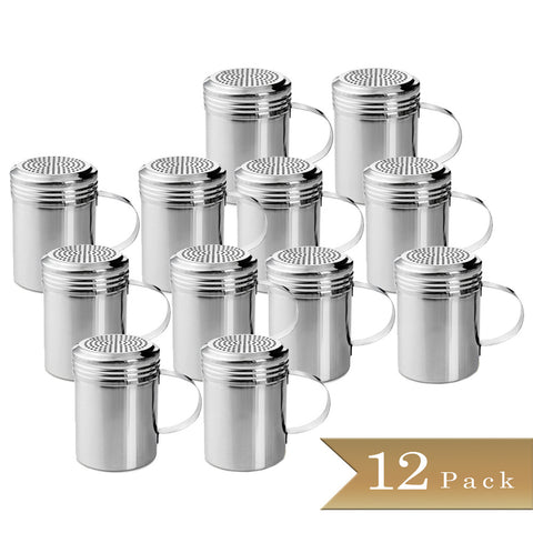 TrueCraftware - Stainless Steel Dredge Shakers with Handle - 10 Ounce - Spice Shaker - 10 oz Spice Dispenser for Cooking - Powder Sugar Shaker (Set of 12)