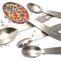 True Craftware - 9 Piece - Stainless Steel, Heavy Duty Oval Nesting Measuring Spoons and Measuring Cups Set - Engraved with Measurements