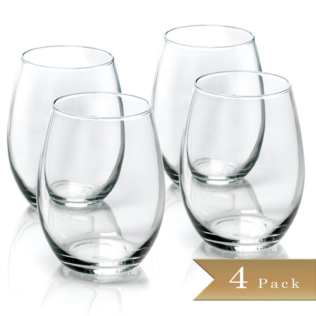 True Craftware 15 Ounce - Stemless Wine Glass - Set of 4