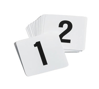 TrueCraftware Plastic Table Sign Numbers 1-100 - Black on White Background - 4