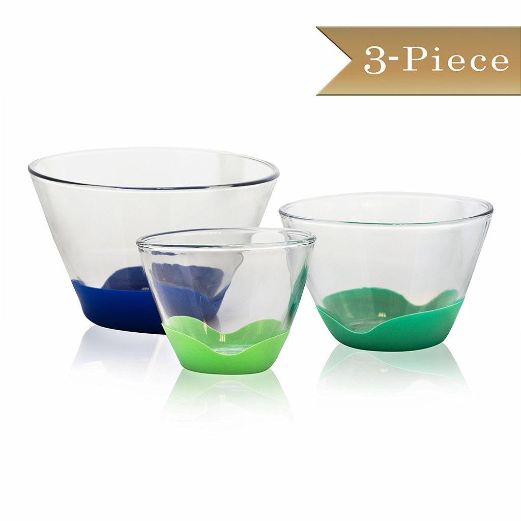 Set of 3 - True Craftware Tall Glass Mixing Bowls with No-Slip Base in 3 Sizes - 1 QT, 2 QT, and 4 QT