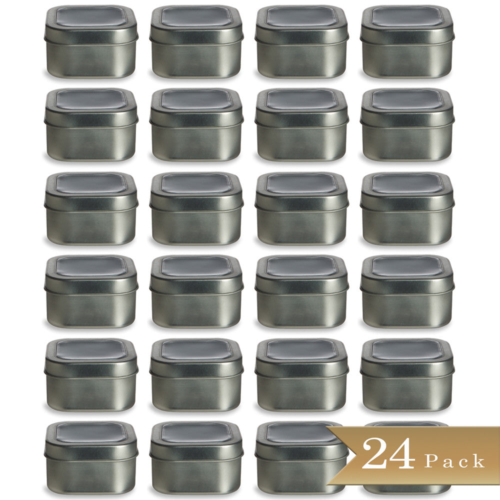 Set of 24 - True Craftware 4oz Square Deep Storage Container Tins with Clear Top Covers
