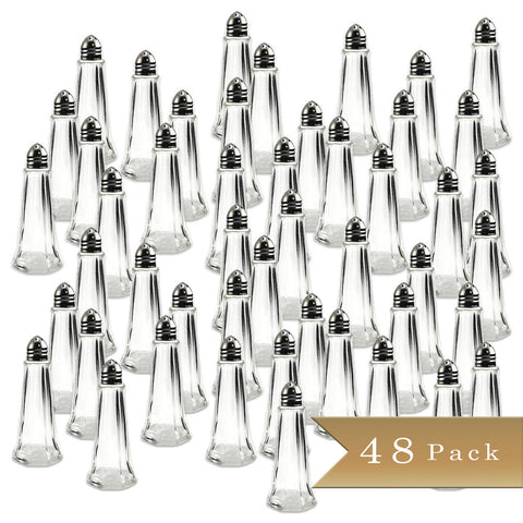 TrueCraftware Tower Salt Pepper Shakers - 1 oz Capacity - Chrome Top and Glass Body (Set of 48)