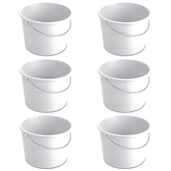 True Craftware Handy White Plastic Cleaning Utility Pail with Handle - 5 Quart Capacity Bucket (Set of 6)