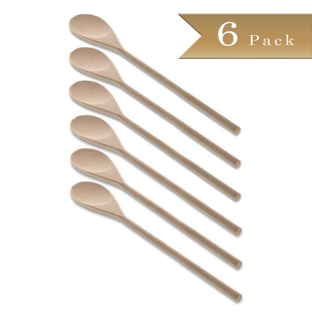 Set of 6 - True Craftware Classic Wooden Cooking Spoon Utensils - 10 Inches - Birchwood