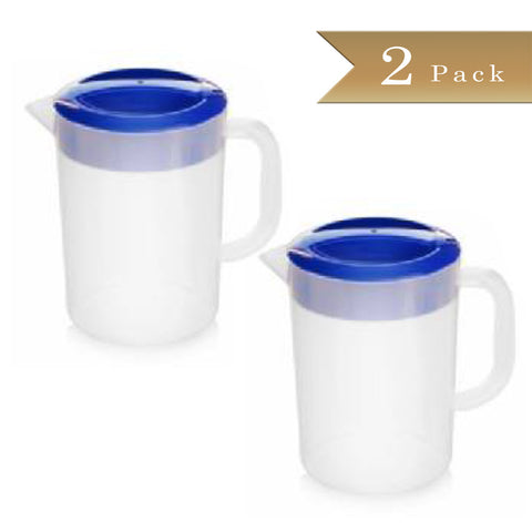 Set of 2 - True Craftware - 58 oz (1720ml) Semi Clear Plastic Polypropylene Beverage Pitchers with Blue Lids - Break Resistant Pitchers