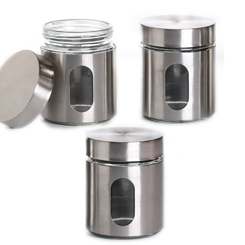 True Craftware Airtight Glass Canisters With Palladian Brushed