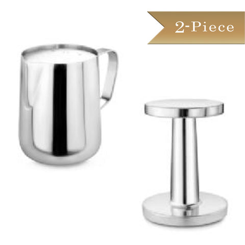 2 Piece - True Craftware - Commercial Stainless Steel 18/8 12 oz Milk Frothing Pitcher and Die Cast Aluminium Espresso Coffee Tamper Set